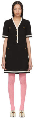 Gucci Black Striped Piping Dress