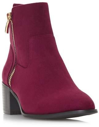 Head Over Heels by Dune - Maroon 'Patricia' Mid Block Heel Ankle Boots
