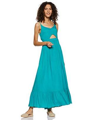 Oasis Wild Beachwear Women's V Neck Spaghetti Strap Cut Out Solid Maxi Dress (