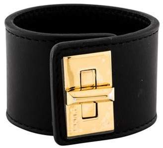 Emilio Pucci Leather Twist Lock Cuff Black Leather Twist Lock Cuff