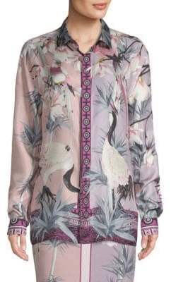 Versace Floral-Print Button-Down Shirt