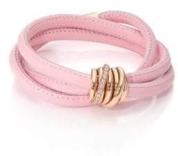 de GRISOGONO Allegra Diamond, 18K Rose Gold& Leather Wrap Bracelet/Rosa
