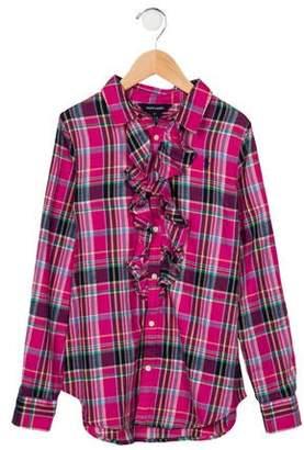 Ralph Lauren Girls' Plaid Button-Up Top w/ Tags