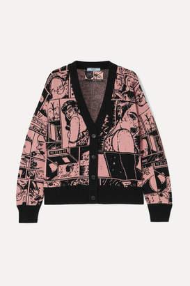 Prada Intarsia Cashmere Cardigan - Pink