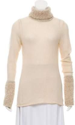 Tory Burch Metallic-Accented Turtleneck Sweater