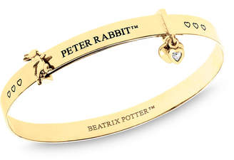 Beatrix Potter Sterling Silver Peter Rabbit Heart Charm Expander Bangle Bracelet