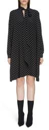 Balenciaga BB Logo Pattern Long Sleeve Silk Dress