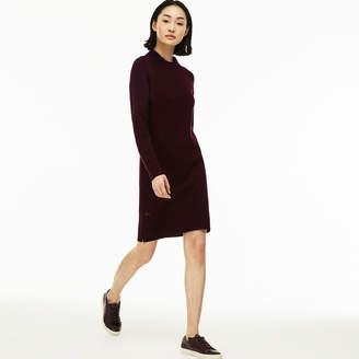 Lacoste Women's Ribbed Wool Zippered Sweatshirt Dress