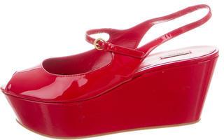 Miu MiuMiu Miu Patent Peep-Toe Flatforms