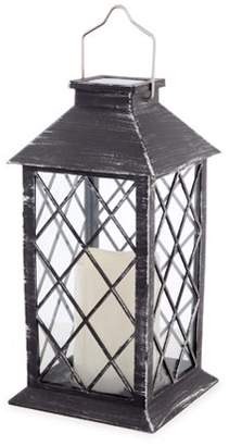 Darice Brushed Silver & Black Solar Powered LED Candle Lantern: 10.8 in