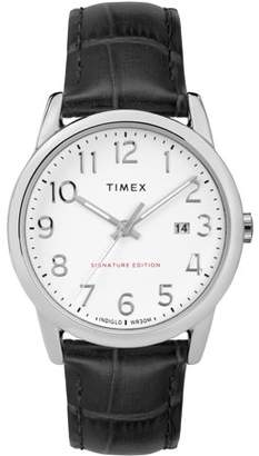 Timex Men's Easy Reader Signature Black/White Watch, Leather Strap
