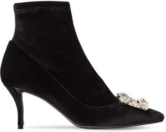Roger Vivier 65mm Flower Stretch Velvet Boots