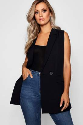 boohoo Plus Longline Double Breasted Sleeveless Blazer