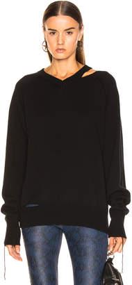 Helmut Lang Slash V Neck in Black | FWRD