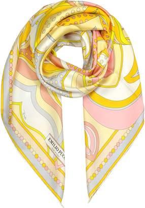 Emilio Pucci Floral Print Twill Silk Square Scarf