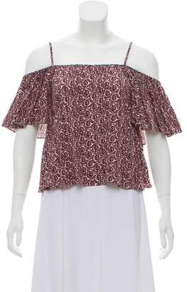 Rebecca Minkoff Printed Cold-Shoulder Top