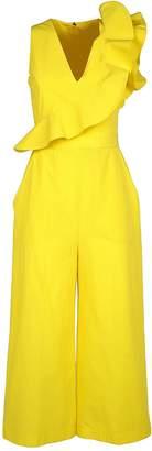 MSGM Ruffle-trimmed Cotton-poplin Jumpsuit