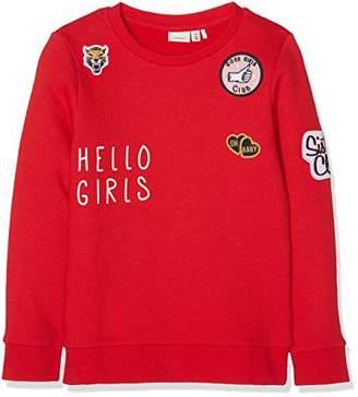 Name It Girl's Nkfnellia Ls Sweat Bru Sweatshirt (True Red), (Manufacturer Size: -152)
