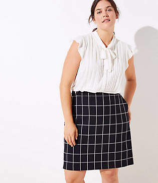 LOFT Plus Plaid Button Tab Pocket Skirt