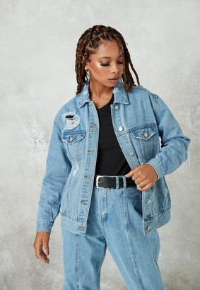 Missguided Blue Light Wash Oversized Boyfriend Denim Jacket
