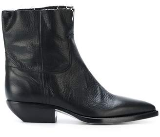 Saint Laurent Black Pointed toe leather boots
