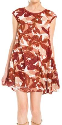 Max Studio Printed Textural Swing Dress