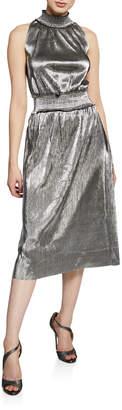 Kensie Pleated Metallic Drop Waist Sheath Dress