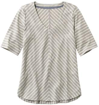 L.L. Bean L.L.Bean Pima Cotton Tee, V-Neck Tunic Stripe