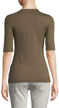 Akris Punto Square-Neck Half-Sleeve Top