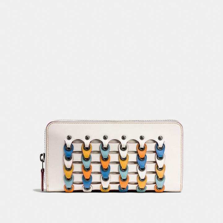 Coach New YorkCoach Accordion Zip Wallet With Colorblock Link - BLACK COPPER/CHALK MULTI - STYLE