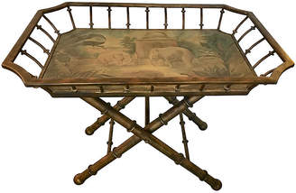 One Kings Lane Vintage Wood and Metal Tray / Table - nihil novi