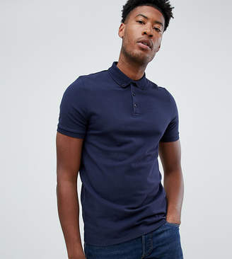 Asos Design DESIGN Tall pique polo with button down collar in navy