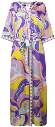 Emilio Pucci Rivera Print Silk Hooded Cover-up