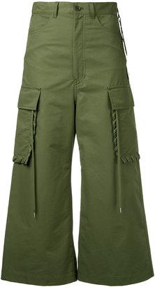 shoe lace stitch cargo pant culottes