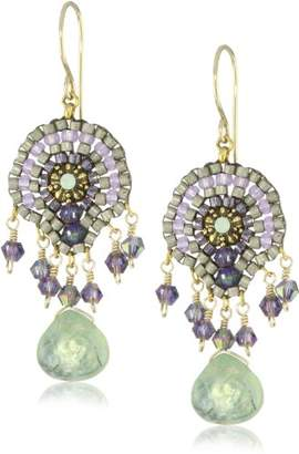 Miguel Ases Green Rutilated Quartz Stone Drop Earrings