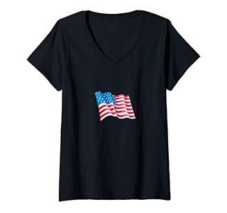 Womens INDEPENDENCE DAY Vintage T-Shirt V-Neck T-Shirt