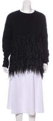 Elizabeth and James Feather-Accented Knit Sweater