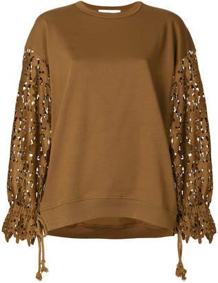 See by Chloe laser cut sleeve sweatshirt