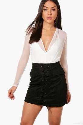 boohoo Lace Up Front Pocket Side Suedette Skirt