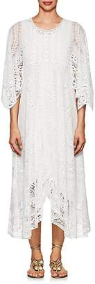 Chloé Women's Cape-Sleeve Cotton-Blend Lace Maxi Dress