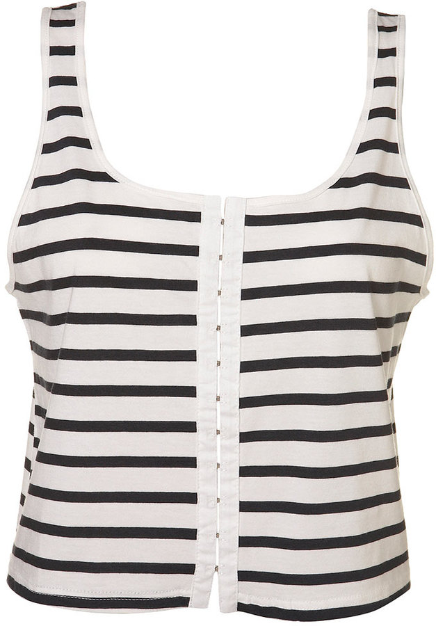 Stripe Hook Eye Crop Vest