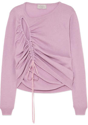 Preen by Thornton Bregazzi Hyasinth Ruched Merino Wool-blend Sweater - Lilac