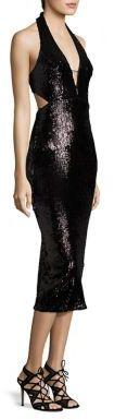 ABS Halter Sequined Dress