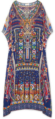 Camilla The Long Way Home Embellished Printed Silk Crepe De Chine Kaftan - Indigo