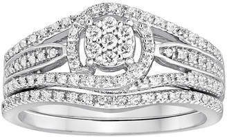 MODERN BRIDE I Said Yes 1/3 CT. T.W. Diamond Halo Bridal Ring Set