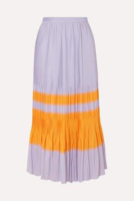 c8df49023066 Dries Van Noten Striped Pleated Crepe Midi Skirt - Lilac