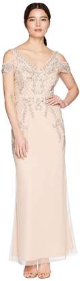 Adrianna Papell Petite V-Neck Long Beaded Mob Gown with Cap Sleeves Women's Dress