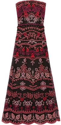 Oscar de la Renta - Strapless Embroidered Silk-organza Gown - Black $7,990 thestylecure.com