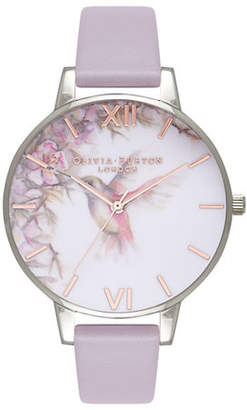 Olivia Burton Analog Painterly Prints Lilac Leather Strap Watch