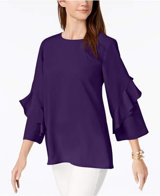 Alfani Ruffled-Sleeve Zip-Back Top